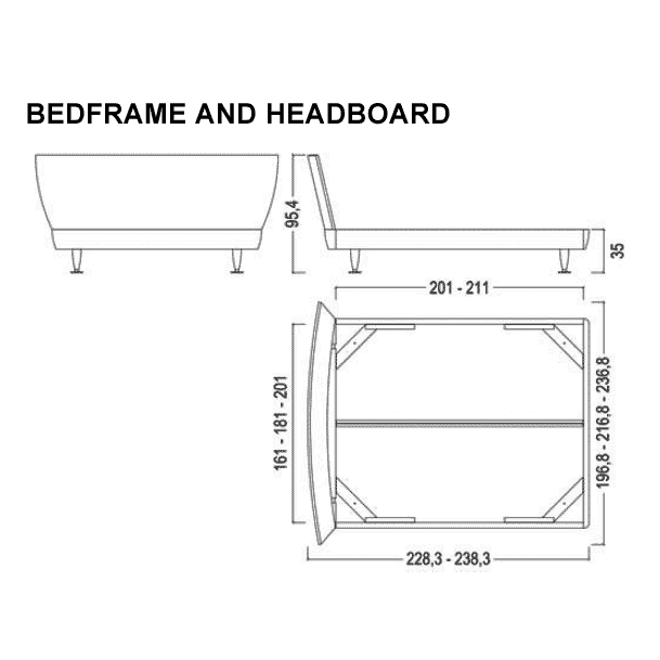 Kristall bed dimensions